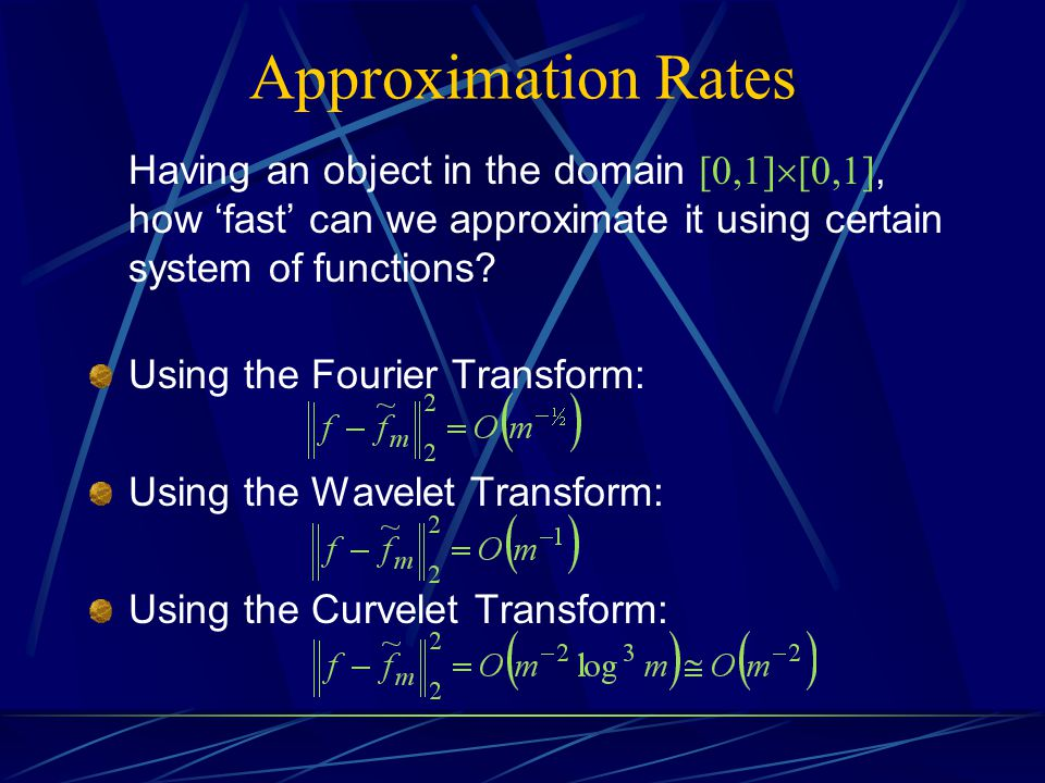 Approximation Rates Having an object in the domain [0,1][0,1], how 'fast' can we approximate it using certain system of functions